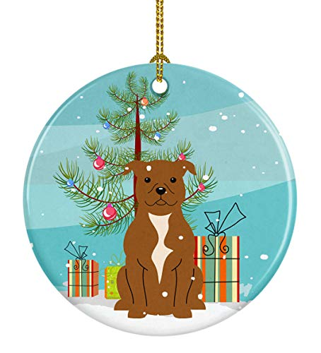 Caroline's Treasures BB4172CO1 Merry Christmas Tree Staffordshire Bull Terrier Brown Ceramic Ornament, 3 in, Multicolor