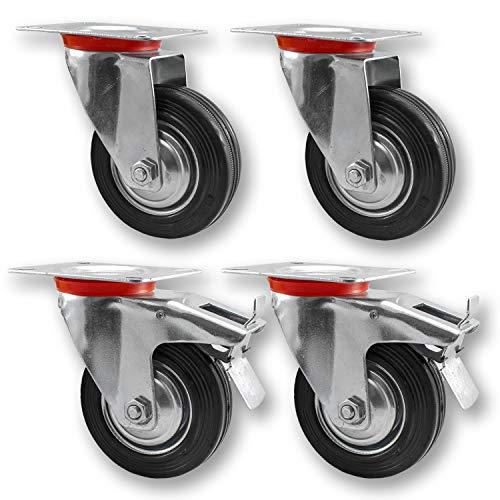Nirox 4x Transportrollen im Set, 100mm - Schwerlastrollen mit Bremse - Lenkrollen 360 Grad rundum drehbar - Industrierollen Vollgummi - 130mm Gesamthöhe - Räder bis 280kg