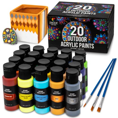Outdoor Acrylic Paint, Set of 20 Tubes (2 fl oz), Glow in the Dark Effect, Rich...