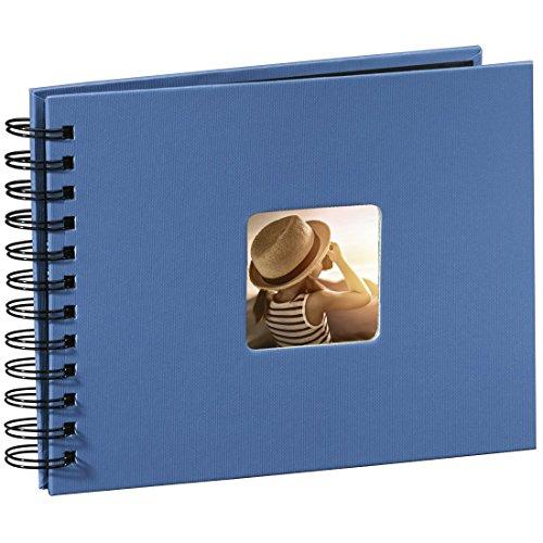 Hama Fotoalbum 24x17 cm (Spiral-Album mit 50 schwarzen Seiten, Fotobuch mit Pergamin-Trennblättern, Album zum Einkleben und Selbstgestalten) azur-blau