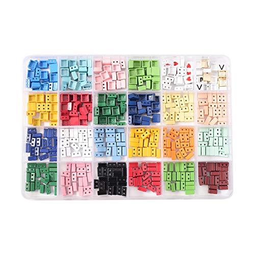 480 unids/caja arco iris cuadrado esmalte azulejo grano metal amor carta granos joyería pulsera haciendo kit miuki kralen cuentas apilables