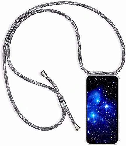 Bigcousin Funda con Cuerda Compatible con LG K11/K10 2018,Transparente de TPU con Ajustable Collar Cadena Cordón,Gris