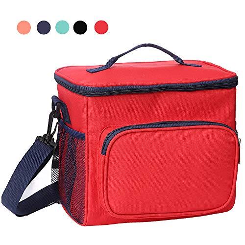 esonmus Kühltasch 10L, Lunch Tasche Klein Lunchtasche Wasserdicht Leichte Picknicktasche Mittagessen Isoliertasche Thermotasche für Arbeit und Schule (Rot)