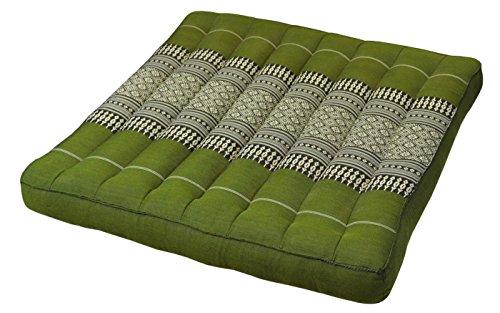 Wifash Lot de 2 Coussins Plats, Galette de siège (50x50cm), Assise pour Chaise Fauteuil canapé, fabriqué en Thaïlande, Vert (2x81819)