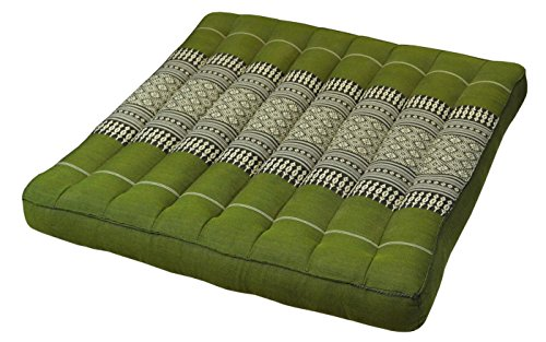 Coussin plat, galette de siège (50x50cm), assise pour chaise fauteuil canapé, fabriqué en Thaïlande, Vert (81819)