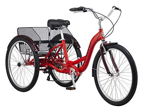 Schwinn Meridian Adult Trike, Three Wheel Cruiser Bike, 7-Speed, 26-Inch Wheels, Cargo Basket, Red
