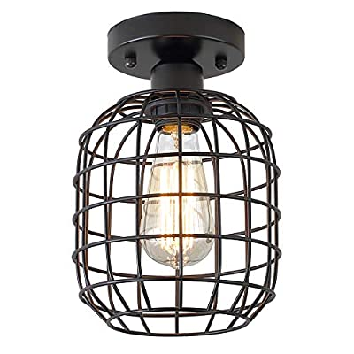 KOONTING Industrial Semi Flush Mount Ceiling Light, Metal Cage Pendant Lighting Lamp Fixture for Hallway Stairway Porch Bedroom Kitchen, Use 1 E26 Bulb, Black.