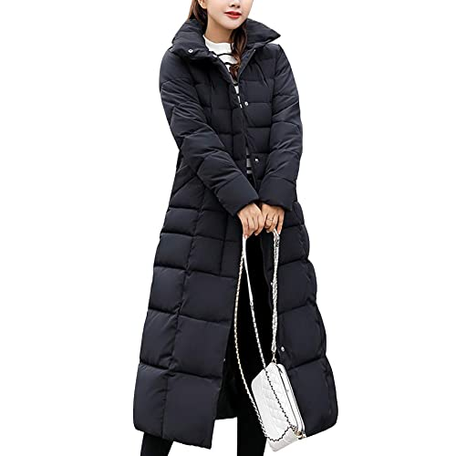 76bcdeda9 Womens Black Long Padded Coat: Amazon.co.uk