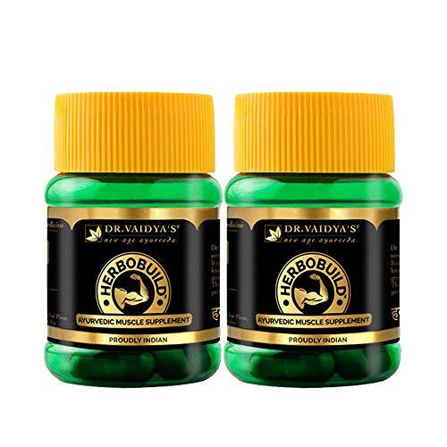 DR. VAIDYA'S Herbobuild | Ayurvedic Capsules for Muscle Gain, Stamina and Performance | Power of Ashwagandha, Shatavati and Safed Musli | Pack of 2 (30 capsules Each)