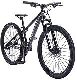BIKESTAR Hardtail Aluminium Mountainbike Shimano 21 Gang Schaltung, Scheibenbremse 27.5 Zoll Reifen | 14 Zoll Rahmen Alu MTB | Blau Rosa