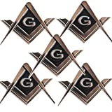 CREATRILL 5 Pack 2.75' Chrome Plated Masonic Car Emblem Mason Square and Compasses Auto Truck Motorcycle Decal Gift Accessories