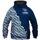 ZHMIAO Maillot de football américain 3D à capuche Titans, rugby lâche décontracté, sweat à capuche pour homme, pour la course à pied, la remise en forme et la formation, bleu XXL