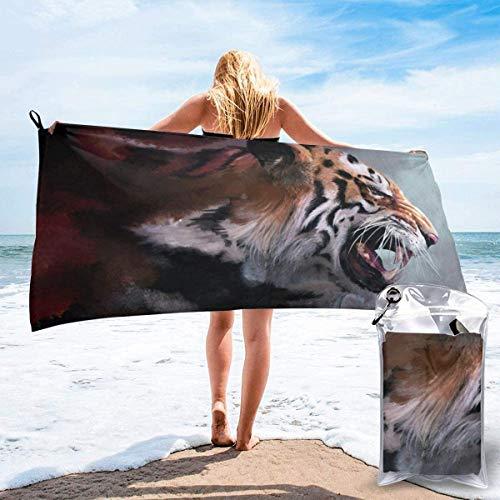 Toalla de Playa 27.5 'X 55',Rugido Tigre Ultra Suave Arena Microfibra Portátil Absorbente de Agua Multi Microfibra Sin Arena Toalla de Playa Manta