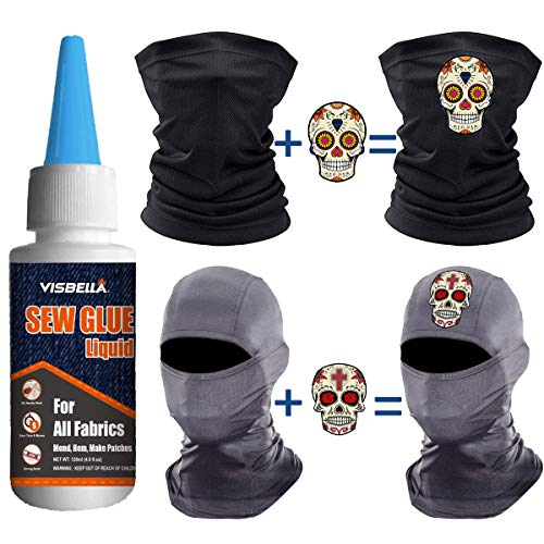 Visbella 1 Min Quick Bonding Fast Dry Sew Fabric Glue DIY Mask Making Tools Liquid Reinforcing Adhesive Speedy Fix for All Fabrics Clothing Cotton Flannel Denim Leather Polyester Doll Repair (60ml)