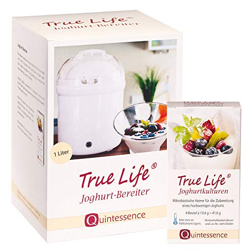 Quintessence Wissen, was gut tut. Joghurtbereiter + True Life Joghurtkulturen 4 Sachets à 10,4 g im Geschenkset