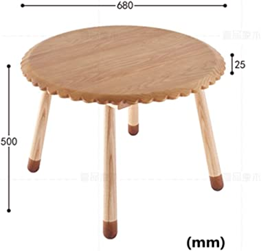 Children's Study Table Kids Wooden Round Table Children's Activity Homework Table Toddler Activity Table Boy and Girl Study Table (Color : Natural, Size : 68x50cm)