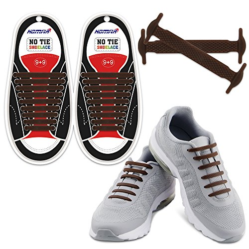 Homar No Tie Lacci per scarpe per bambini e adulti - Impermeabile in silicone elastico piatto Laces Athletic scarpa da corsa con multicolore per Scarpe Sneakerboots bordo e scarpe casual (Adult Size Brown)