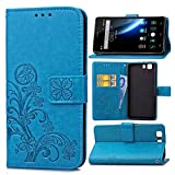 Schutzhülle Für Doogee X5 / X5 Pro / X5S , pinlu® Handyhülle Hohe Qualität PU Ledertasche Brieftasche Mit Stand Function Innenschlitzen Design Glücklich Klee Muster Blau