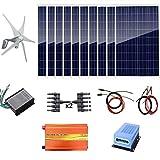 Kit de système hybride AUECOOR 1400 W : éolienne 400 W et 10 panneaux solaires 100 W + onduleur pur 3000 W (pic 6000 W) + accessoires pour usage domestique