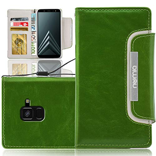 numia Samsung Galaxy A6 2018 Hülle, Handytasche [Schutzhülle Standfunktion, Kartenfach] PU Leder Tasche für Samsung Galaxy A6 2018 Case Wallet [Grün]