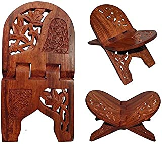Beautiful Hanadmade Wooden Prayer Book Display Stand Holder Rehal for Religious Holy Books for Free Reading The Bible Quran Geeta Foldable Book Rest Traditional Living Room Home Decor Accents