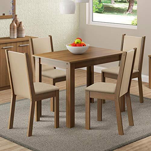 Sala de Jantar Cíntia Mesa com 4 Cadeiras - Rústico/Crema/Pérola