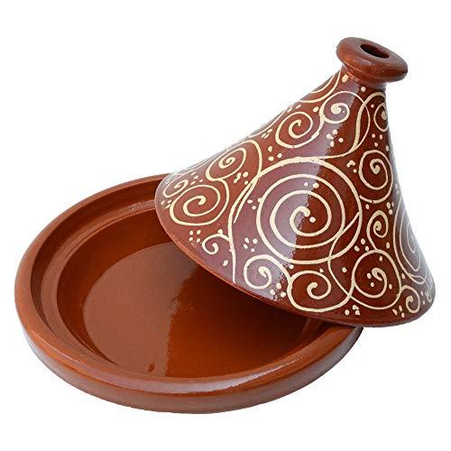 Marokkanische Tajine, Rund, Ø 30 cm, glasiert zum Kochen für 4-5 Personen, Tontopf, Gartopf, Schmortopf, Handmade Marrakesch, Orientalisch, Arabisch, schadstofffreie Lehmerde