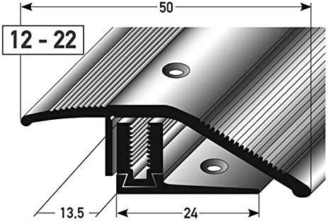 Profil/é de sol pour sols parquet et moquette |Profil de transition 135 cm acerto 35987 Profil/é de r/églage en hauteur en aluminium argent * 12-22mm * Avec vis * Profil/é de transition pour stratifi/é
