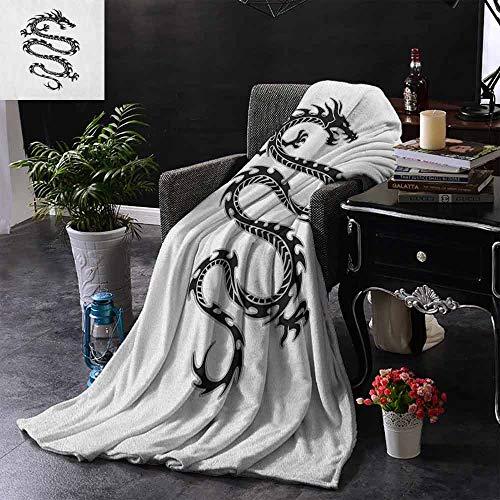 ZSUO Bank Deken Zwarte Draak op Blauwe Tribal Achtergrond Jaar van de Draak Themed Art Soft, Fuzzy, Gezellig, Lichtgewicht Dekens
