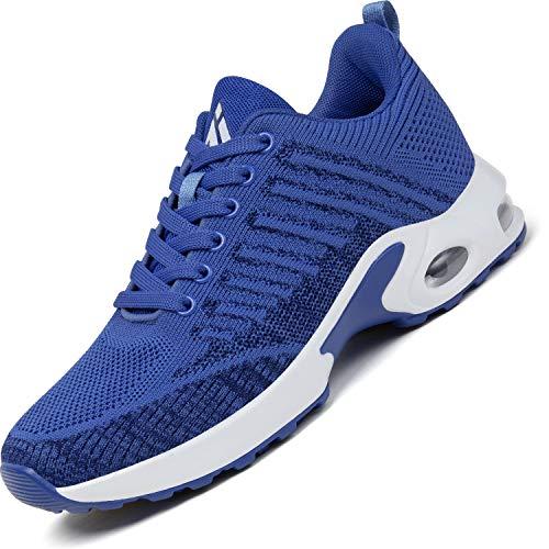 Mishansha Turnschuhe Damen Air Sportschuhe Dämpfung Laufschuhe Frauen Atmungsaktiv Walkingschuhe rutschfest Sneaker Blau, Gr.40 EU