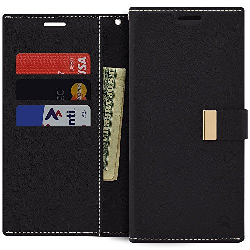 Qoosan LG X Charge Wallet Case, Premium PU Leather Folding Flip Cover with Card Holder Kickstand Magnetic Closure Protective Folio Phone Case for LG X Charge/LG X Power 2/LG Fiesta LTE/LV7, Black