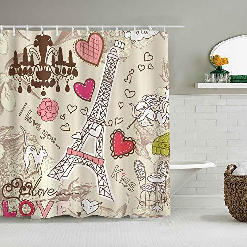 NOLOVVHA Rideau de Douche,Paris Doodles Illustration de Tour Eiffel Coeurs Lustre Fleur Amour Thème Vintage,décor de Salle de Bains,Crochets Inclus,180 * 210