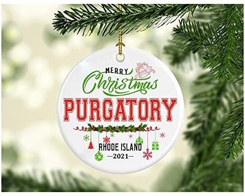 Christmas Decorations Tree Ornament - Gifts Hometown State - Merry Christmas Purgatory Rhode Island 2021 - Gift for Family Rustic 1St Xmas Tree in Our New Home 3 Inches White