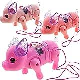 wastreake Electric Light Music Walking Pig Toy, Luminous Cartoon Pink Pig with Leash, Cute Electric Music Walking Pig Toys for Kids Children Girls