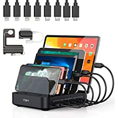 【Clean & Organized】5-slot USB charging station with 4 Lightning Cable 2 Micro USB cable 2 USB C cable neatly stores and charges up to 5 smartphones/tablets at the same time. Charge all your devices at one place and avoid cable chaos. Keep your deskto...