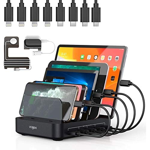 Charging Station, Vogek 50W 10A 5-Port USB Charging Station for Multiple Device with 8 Short Mixed Cables Watch & Airpod Stand Included for Cell Phones, Smart Phones, Tablets, iWatch, Airpods -Black