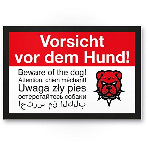 Vorsicht Hund mehrsprachig, 6 Sprachen - Hunde Kunststoff Schild, Hinweisschild Grundstück - Türschild Haustüre, Warnschild / Einbruchschutz - Achtung Hund
