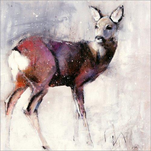 Posterlounge Acrylglasbild 20 x 20 cm: Scheues REH im Schnee von Mark Adlington/Bridgeman Images - Wandbild, Acryl Glasbild, Druck auf Acryl Glas Bild