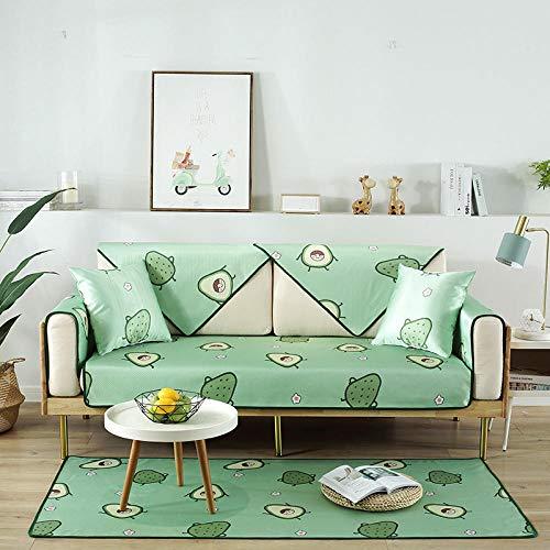 Hybad cubresofa,Sofa Cover,Fundas de Verano para sofás de Cuero,Alfombrillas de Tela Antideslizantes,Fundas de sofá Plegables Lavables,cojín del reposabrazos-F_90 * 160cm