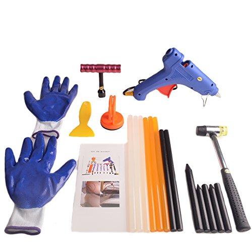 HiYi Lot de 20 outils de débosselage sans peinture pour carrosserie de voiture - Mini pistolet à colle avec poignée en T - Marteau en caoutchouc avec outils de débosselage