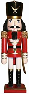 Christmas Holiday Wooden Nutcracker Figure Soldier King with Traditional Red and Black Uniform Jacket with Gold Tassels, Sword, Top Hat, and Boots with Sparkle Rhinestone Details, Large, 15 Inch
