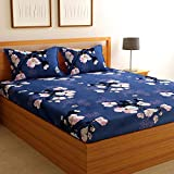 Florida Microfiber Queen Size Double Bed Floral Cotton Bedsheet with 2 Pillow Covers (Blue, 228 x 245 cm)