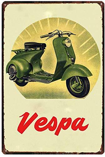 Vespa Scooter Cartel de pared de metal Cartel de chapa vintage Cartel retro Decorar manualidades para cafetería Bar Garaje Sala de estar Dormitorio,30x40cm