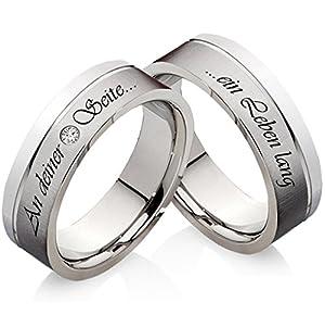 frencheis Eheringe Verlobungsringe aus Edelstahl mit Zirkonia und Ihrer persönlichen Lasergravur Z111