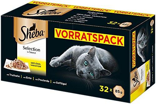 Sheba Katzenfutter Nassfutter Selection in Sauce, 32 Portionsbeutel (32 x 85 g)