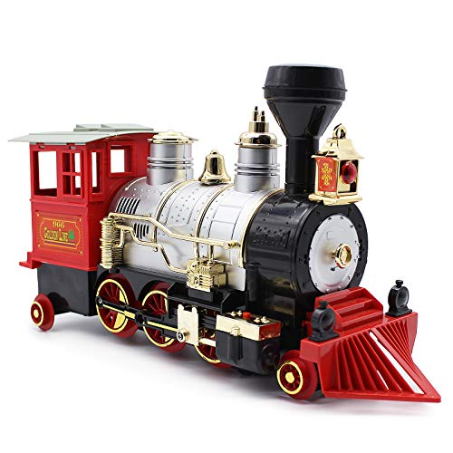 Dollox Train Toy with Steam Locomotive Train Set for Kids with Smoke, Realistic Sounds and Lights Railway Toys for Kids Age 3, 4, 5, 6 and Up Years Old
