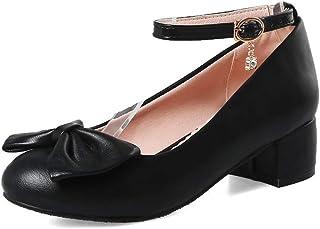 BalaMasa Womens Solid Bows Buckle Urethane Pumps Shoes APL10501