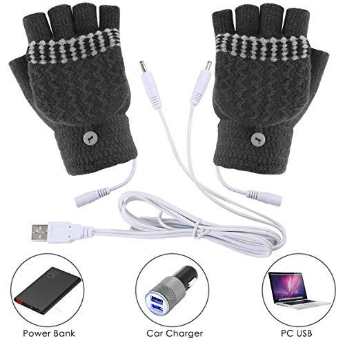 Unisex Women's & Men's USB Heated Gloves Mitten Winter Hands Warm Laptop Gloves,Yinuoday Full & Half Heated Fingerless Heating Knitting Hands Warmer Washable Design (Men Grey)
