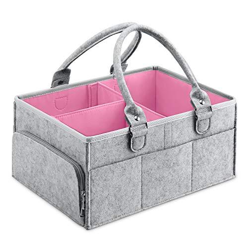 MaidMAX Baby Windel Caddy Filztasche, tragbarer Wickeltisch Organizer Multifunktionale Wickeltasche, Filzkorb Aufbewahrungsbox mit wechselbaren Fächer für Kinderzimmer, Auto und Reise -Rosa