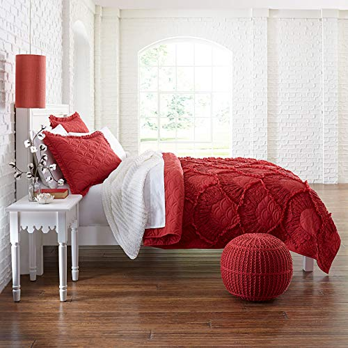 BrylaneHome Selena Quilt - Full/Queen, Ruby Red